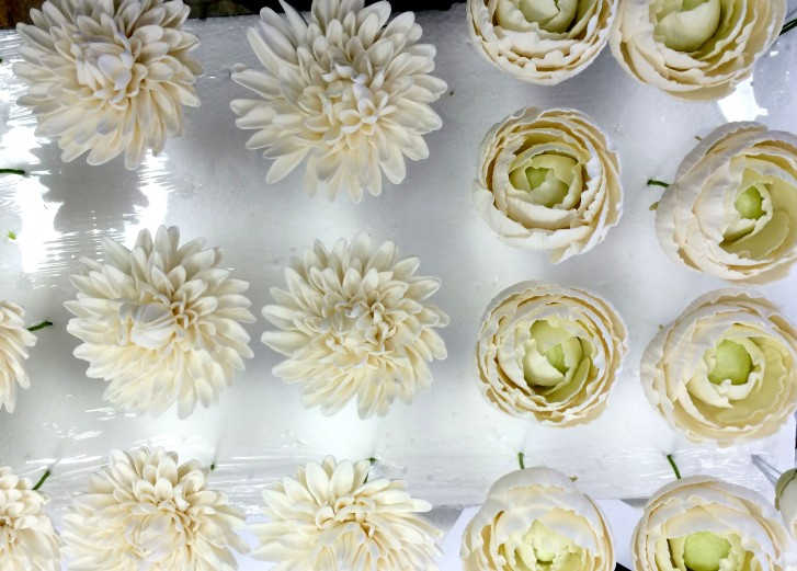 Dahlias and Ranunculus sugar flowers