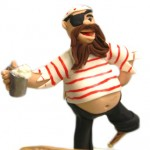 Pirate peg leg cake topper