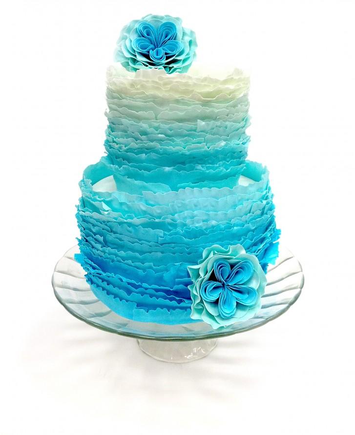 Wedding Cake Classes: Ombre Ruffle Wedding Cake