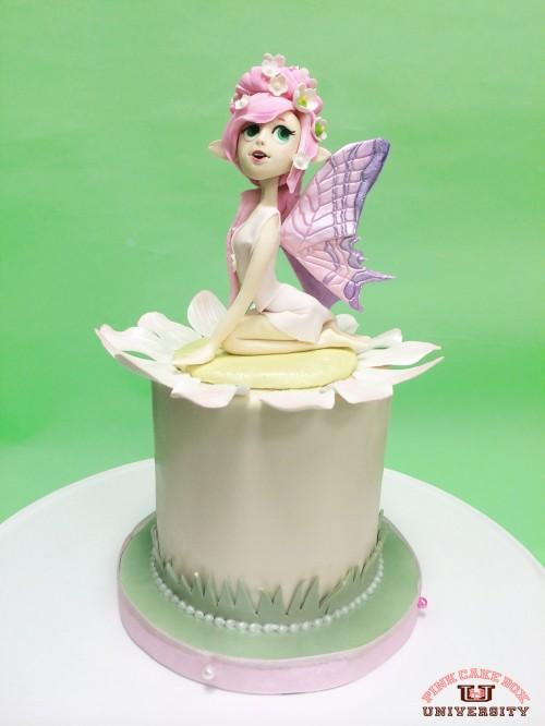 Woodland Fairy Figure on Sponge Cake