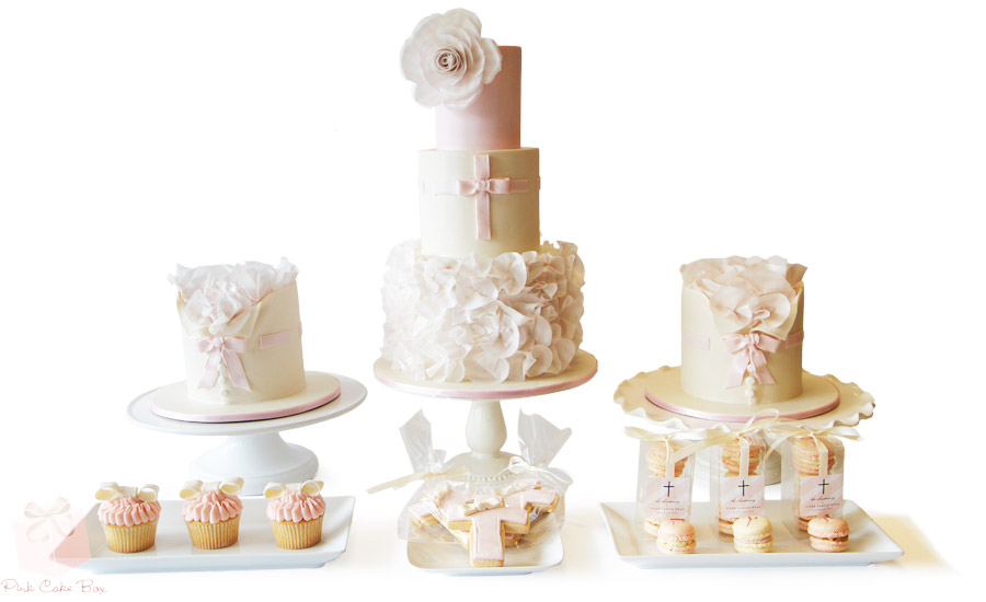 Baptism Gold And White Cake One Level