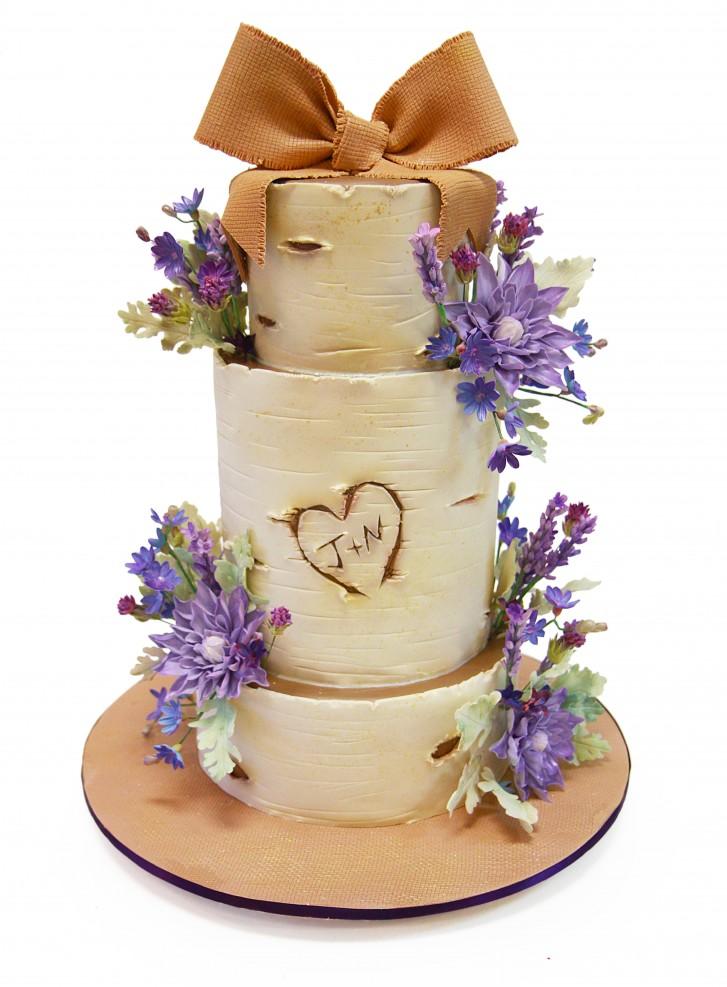 Birch Tree Wedding Cake with Sugar Flowers
