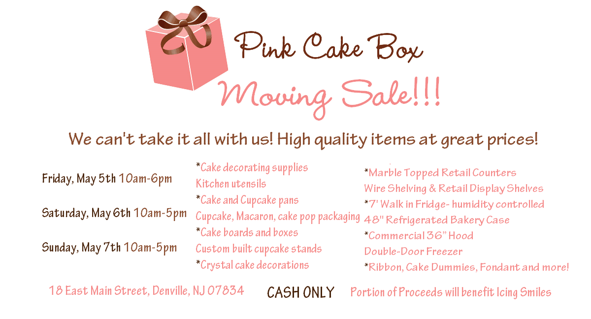 Moving Sale Pink Cake Box